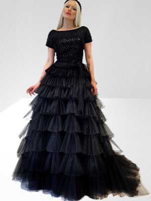 Sequin velvet and tiered tulle skirt