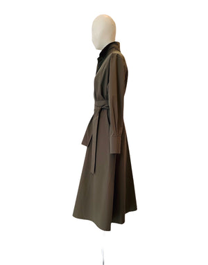 KHAKI TAFFETA MIDI DRESS