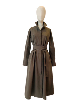 Khaki techno taffeta midi dress