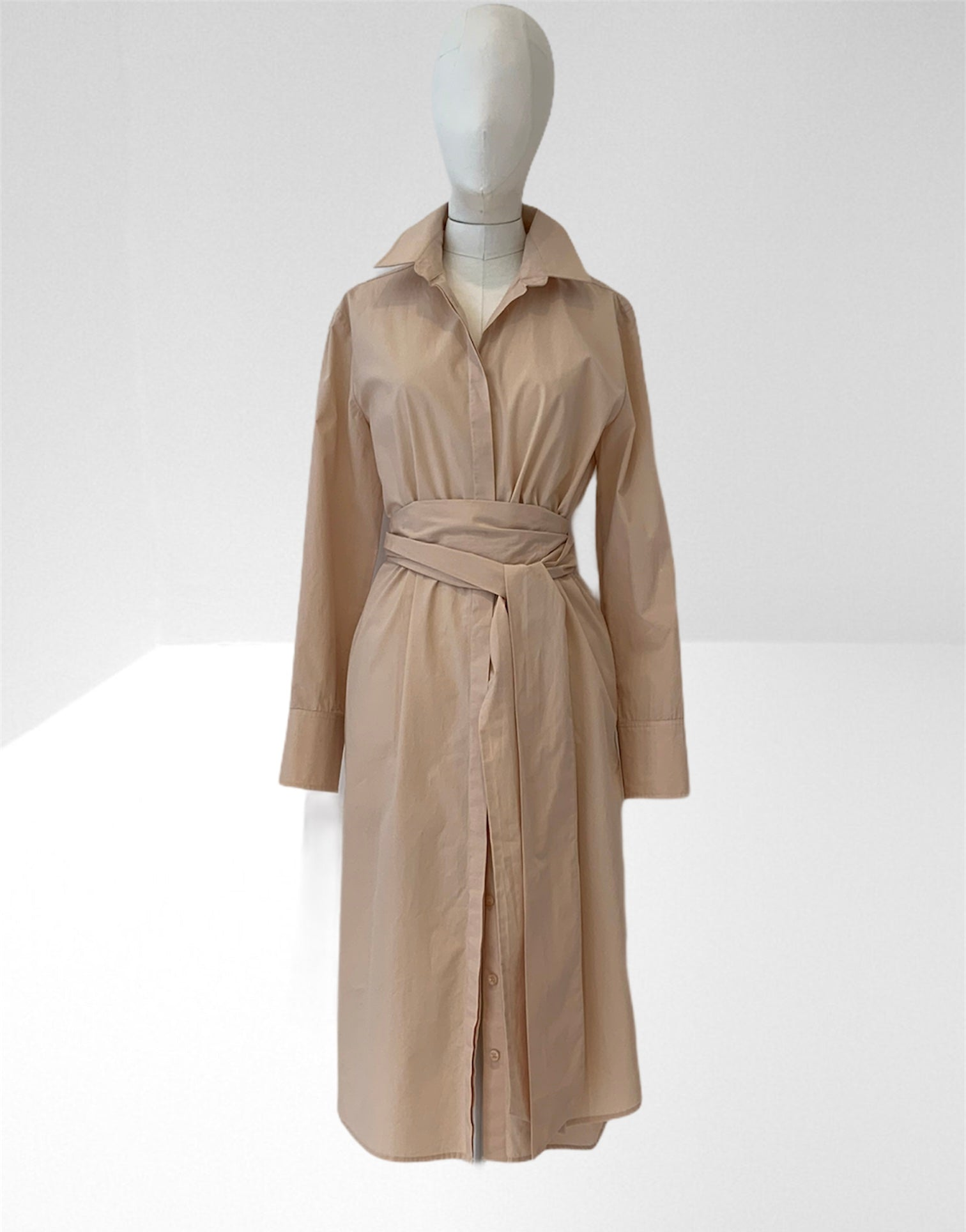 Sand long shirt dress