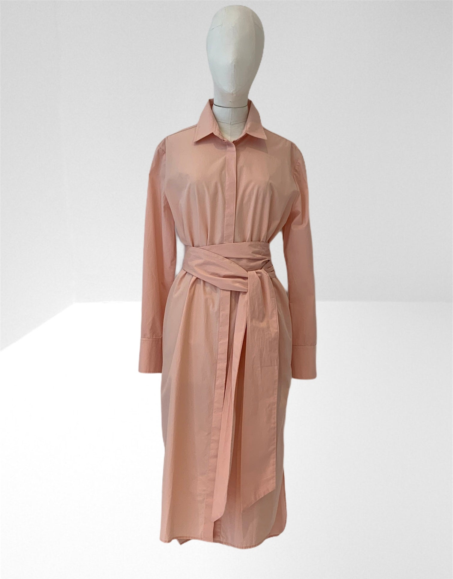Peach long shirt dress