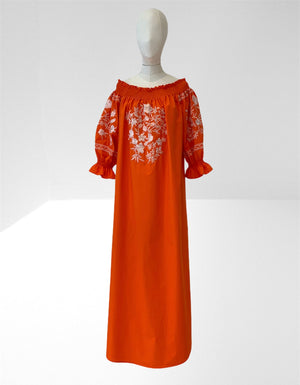 Pure cotton off the shoulder one size embroidered long dress.