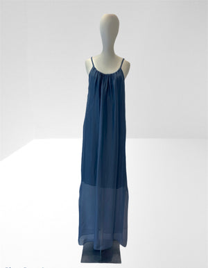 Denim blue long slip dress