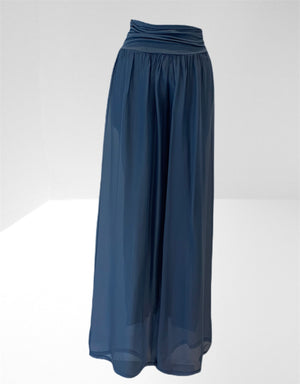 Denim blue silk trouser.