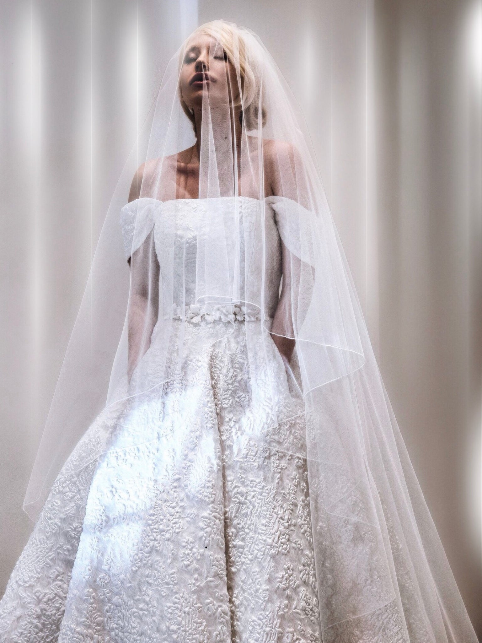 Full skirted off the shoulder organza bridal long dress