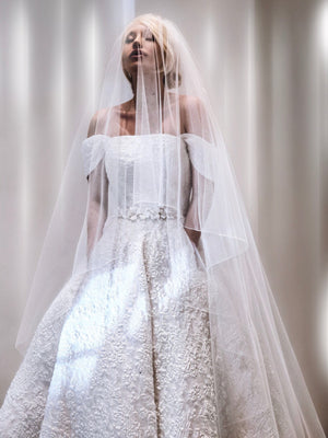 Full skirted off the shoulder organza long bridal dress