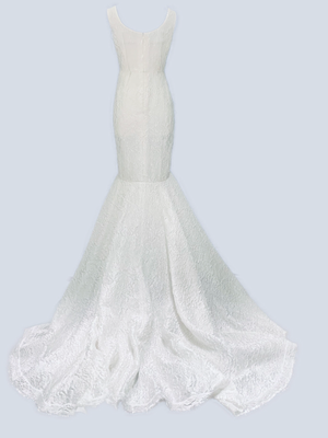 Fitted v neck long organza cloque bridal long dress