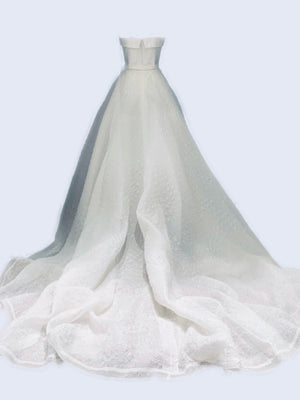 Full skirted strapless organza cloque long bridal dress