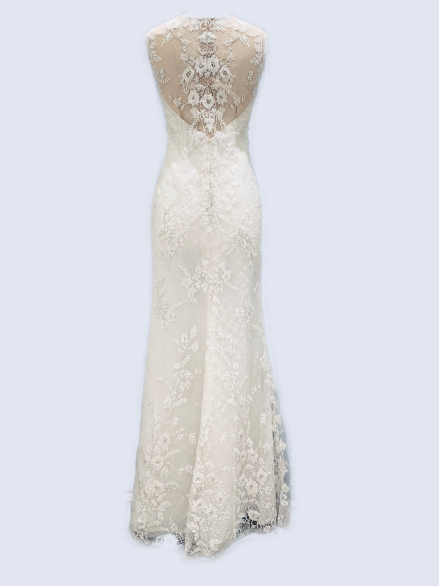 Long fitted beaded lace dress