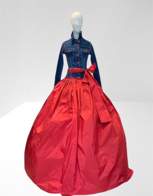 Stretch denim  and red taffeta dress