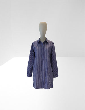 Blue/white cotton stripe shirt - shirtdress