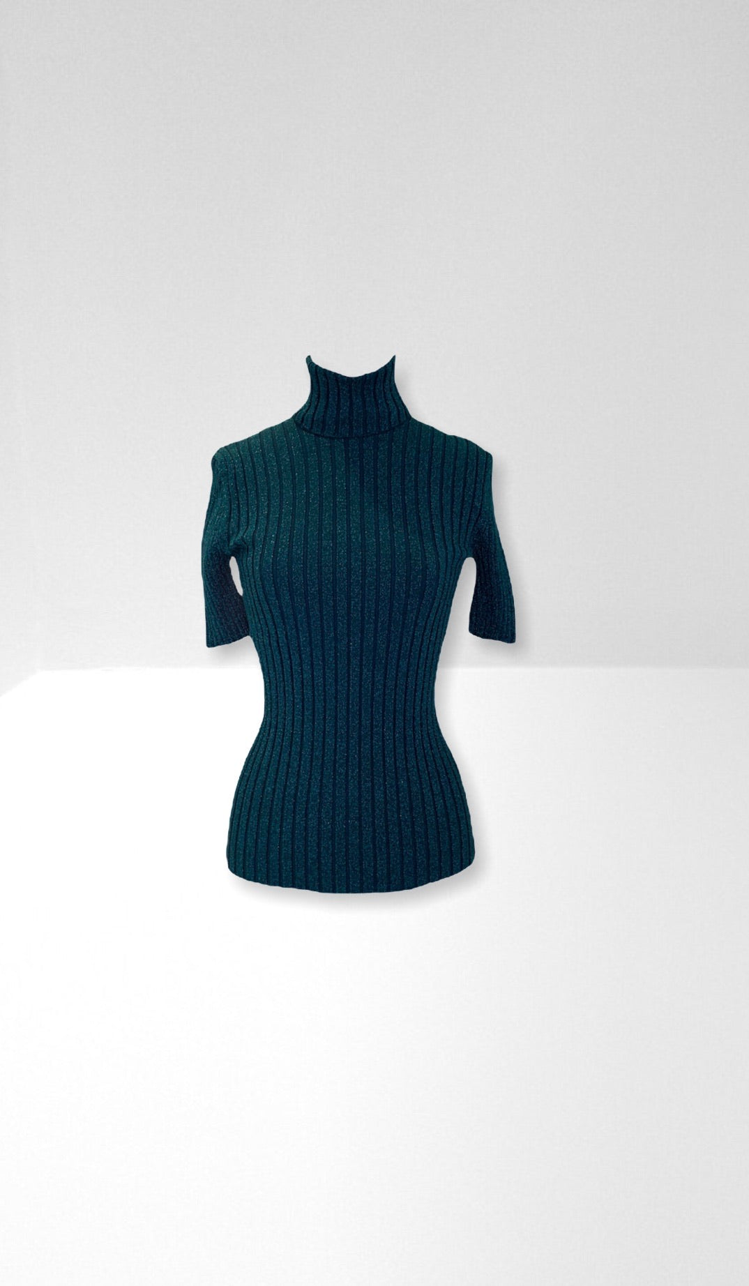 Green roll neck knit top