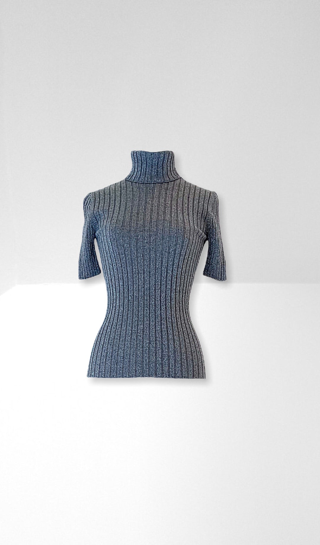 Silver grey roll neck knit top