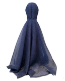 Silk cloque organza long dress
