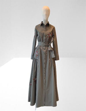 KAHKI TAFFETA EMBROIDERED LONG DRESS