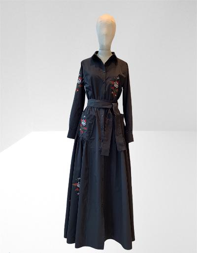 BLACK TAFFETA EMBROIDERED LONG DRESS