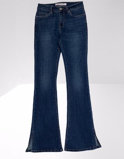 Bootleg stretch denim jeans with ankle side slits
