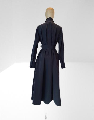 DARK NAVY  TAFFETA MIDI DRESS.