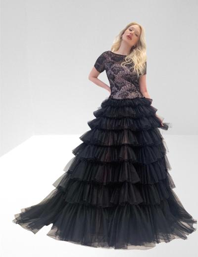 Full length tiered tulle dress
