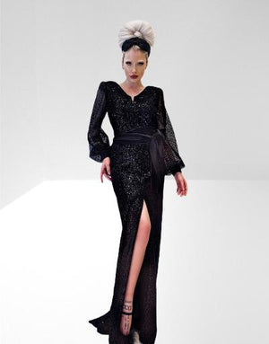 Sequin stretch velvet, with mesh sequin sleeves long dress