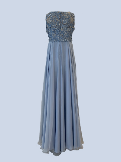 Blue 100% silk chiffon dress with embroidered lace bodice