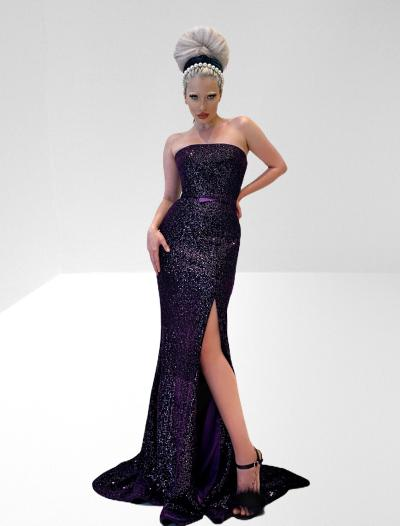 Strapless stretch sequin velvet long dress