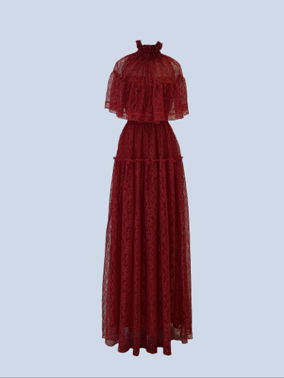 Long dress in fine red lace.