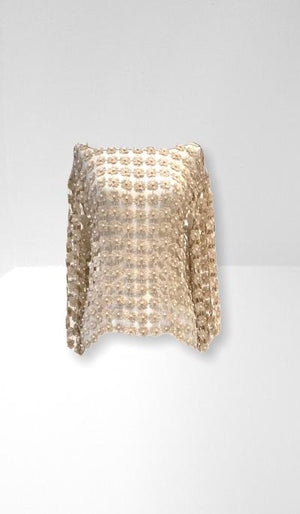 Gold lace T-top with pearls