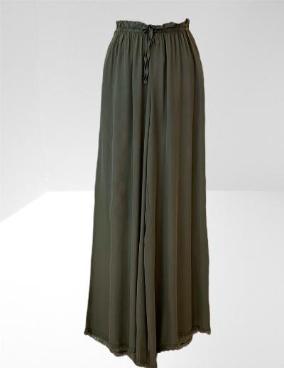 Khaki satin wide legged trousers.