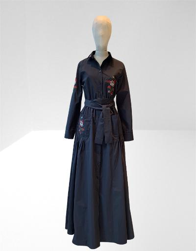 DARK NAVY TAFFETA EMBROIDERED LONG DRESS