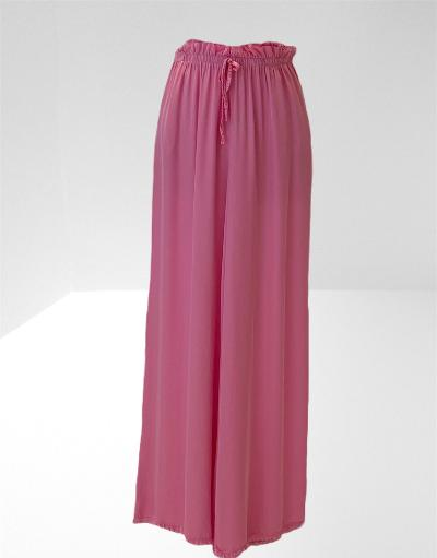 Pink satin wide legged trousers