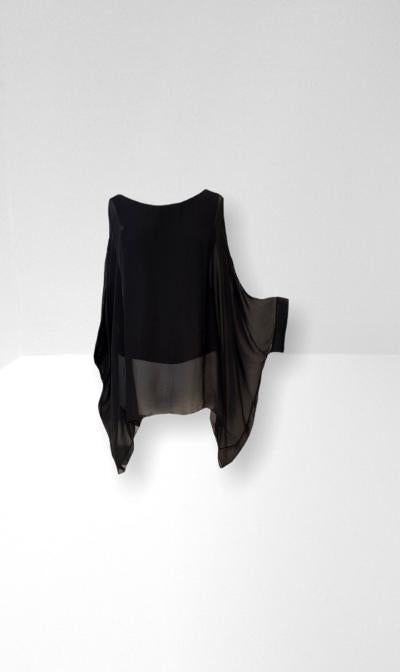 Black chiffon t-top