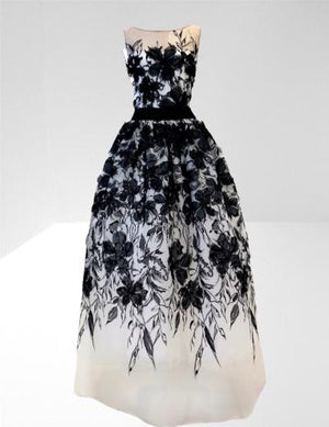 White tulle black 3D flowers long dress
