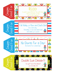 Kids Printable Coupon Book Robot Edition