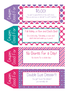 Kids Printable Coupon Book Girls Edition