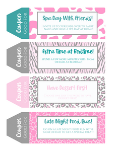 Teenager Printable Coupon Book Animal Print perfect for Teens and Tweens!