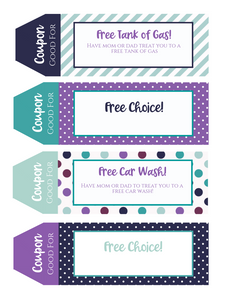 Teenager Printable Coupon Book Purple and Turquoise perfect for Teens and Tweens!