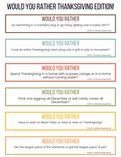 Load image into Gallery viewer, 100 Thanksgiving Would You Rather Questions