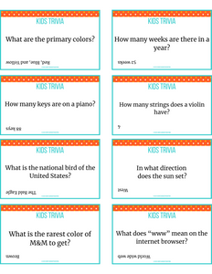 Trivia for kids cards
