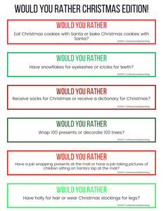 Would You Rather Questions- Christmas Edition