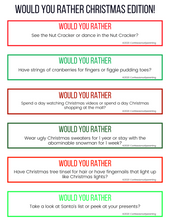 Load image into Gallery viewer, Would You Rather Questions- Christmas Edition