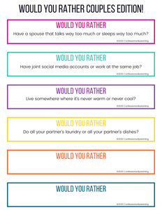 Would You Rather Questions- Couples Edition