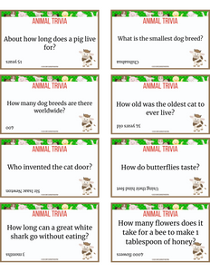 Animal Trivia for Kids Cards