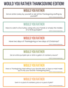 100 Thanksgiving Would You Rather Questions