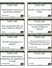 Load image into Gallery viewer, 48 Football Trivia for Kids Printable Cards