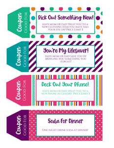Teenager Printable Coupon Book perfect for Teens and Tweens!