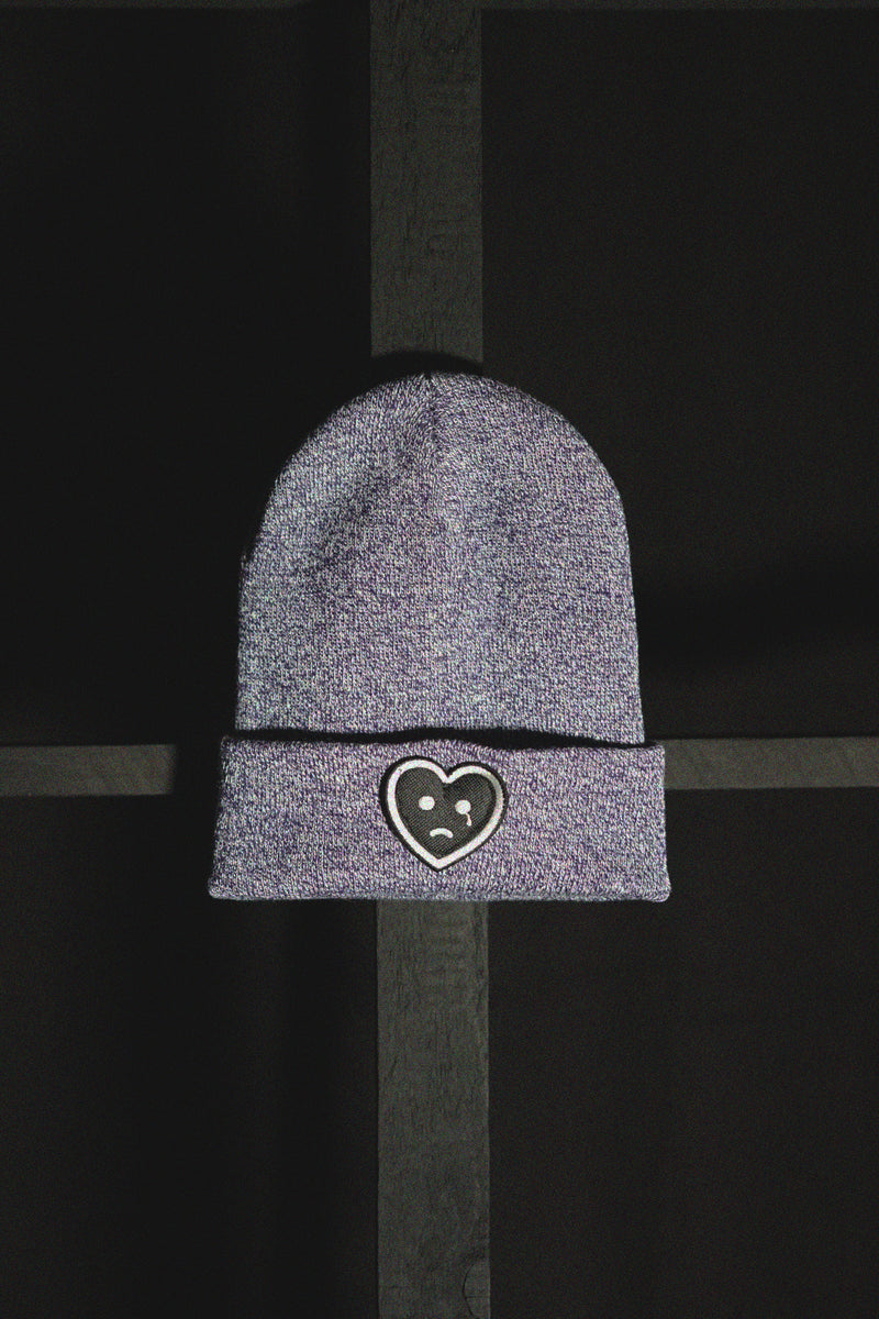 SAD HEART - BEANIE (HEATHER PURPLE)