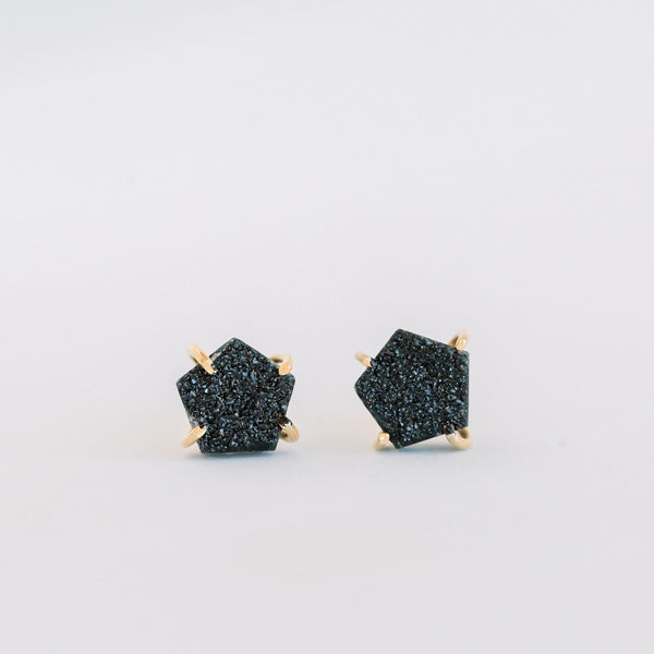 Atlas Studs | Black Druzy - elliparr