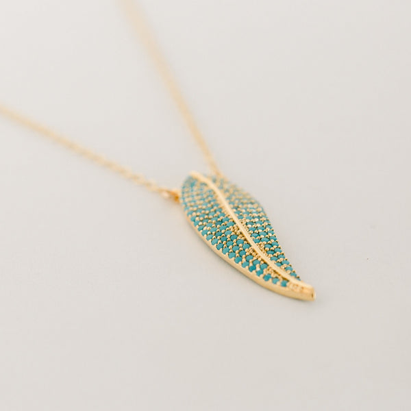 Avery Gold Feather Necklace | Turquoise - elliparr