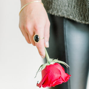 Cosmo Gold Pave Ring | Black Onyx - elliparr